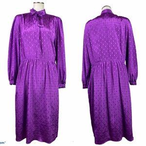 Vintage Purple Midi Dress with Long Sleeves 16